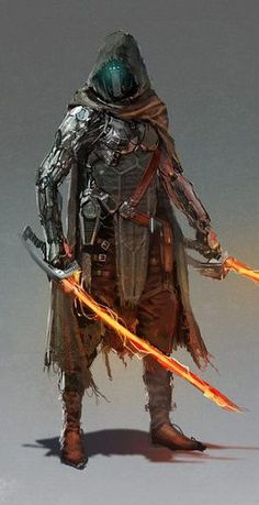 This is a high-level Technomancer that steals digital energy for himself and his mechanical enhancements. When powered into his swords, he can cut through almost anything. Fantasy Character Design, Character Design Inspiration, Character Concept, Character Art, Arte Ninja, Arte Robot, Robot Art, Futuristic Armour, Futuristic Art