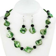 green necklace with matching earrings