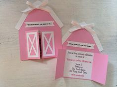 Barn Invitations by PinkPaperCottage on Etsy Cowgirl Birthday, Farm Birthday, 6th Birthday Parties, Farm Themed Party, Farm Party, Pony Party, Holidays And Events, Birthday Invitations, First Birthdays