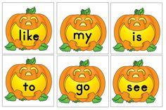 Pumpkin themed sight word printables