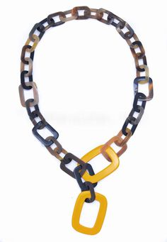 ONA Handmade Water Buffalo HORN & LACQUER Large Chain NECKLACE Q4513 YELLOW