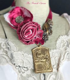 CUSTOM ORDER for J burgundy lyric vintage assemblage medal