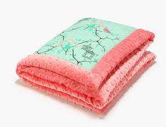Baby blanket Maggie rose mint with coral