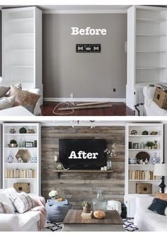 how to build a pallet accent wall - includes tips on safe pallets to use, and building wire pathways for mounting a TV #livingrooms