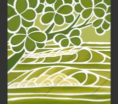 Shades of Hawaii #3 – Green and white monochrome surf art by Heather Brown