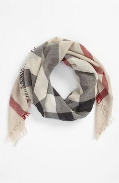 Burberry 'Trench Check' Merino Wool Scarf (Girls) available at #Nordstrom