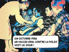 06 octobre 1956 : le vaccin oral contre la polio ... Albert Sabin de l'université de Cincinnati dans l'Ohio annonce la mise au point d'un vaccin oral. ... Aujourd'hui l'OMS recommande l'emploi de ce vaccin est préparé à partir d'un virus vivant inactivé contrairement au vaccin créé par Jonas Salk en 1954. ... La poliomyélite a été éradiquée des pays occidentaux. On la retrouve cependant encore dans une dans une vingtaine de pays. ... #histoire #vaccin #science Virus, Hui, Cincinnati, Comic Books, Science, Comics, October, Drawing Cartoons, Comic Book