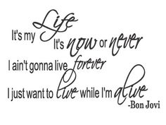Bon Jovi It's My Life Song Lyrics Wall Art Vinyl by superdecals1, $15.99