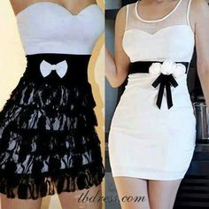 Skin tight black n white dresses with bowtie waist band
