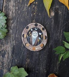 Owl with lunar phases nocturnal animal animal spirit Lunar Phase, Nocturnal Animals, Sticks And Stones, Treasure Boxes, Wood Slices, Spirit Animal, Owls, Mystic, Door Handles