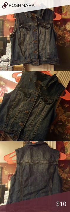 Cherokee girls Jean vest jacket Girls Cherokee Jean vest jacket. pocket flap is not laying flat but if ironed it will go back down. Cherokee Jackets & Coats Vests