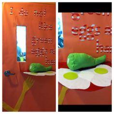 Dr Seuss green eggs and ham classroom door.