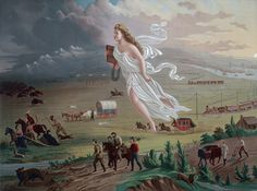 American Progress, (1872) by John Gast, is an allegorical representation of the modernization of the new west. Columbia, a personification of the United States, is shown leading civilization westward with the American settlers. She is shown bringing light from the East into the West, stringing telegraph wire, holding a school textbook that will instill knowledge, and highlights different stages of economic activity and evolving forms of transportation.