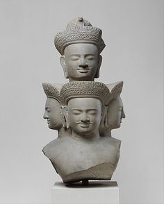 Bust of Five-Headed Shiva -     Period:      Angkor period  Date:      ca. mid-10th century  Culture:      Cambodia  Medium:      Stone