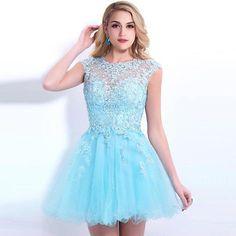 Céu azul curto Backless vestidos de baile de bola vestido de baile vestido de manga Beading graduação vestido