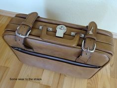 ITEM: Vintage Leather Suitcase Brown Luggage Flight Bag Light Tan Suitcase Travel Lockable Key cms Have to say, this is a really nice Flight Bag, Leather Suitcase, Antique Items, Vintage Leather, Really Cool Stuff, Satchel, Key, Antiques, Nice