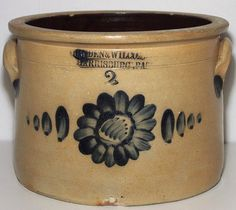 $ 525.00 Cowden & Wilcox Harrisburg PA 2 gallon cake crock with the brushed bull's-eye design
