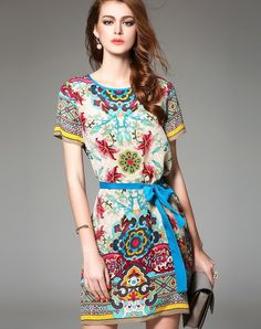Red Floral Print Silk Belted Shift Mini Dress