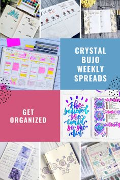 Check out these gorgeous crystal bullet journal weekly spread ideas - and find out more about the power of crystals Bujo Weekly Spread, Cover Pages, Bullet Journal, Crystals, Crystal, Crystals Minerals