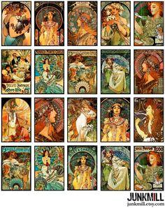 Graphic 45, Mucha Art Nouveau, Alphonse Mucha Art, Collage Sheet, Collage Art, Art Nouveau Illustration, Vintage Magazine, Image Digital, Art Nouveau Design
