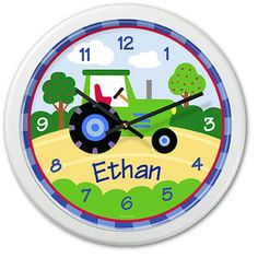 Trains, Planes and Trucks Personalized Tractor Clock