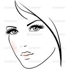 güzel bir kadın yüzü - Stok İllüstrasyon: 28673395