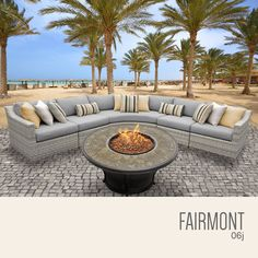 Create a spacious outdoor retreat on your deck or patio with the TK Classics Fairmont Wicker 6 Piece Fire Pit Patio Set . Fire Pit Patio Set, Gas Fire Pit Table, Fire Pit Seating, Outdoor Seating, Outdoor Decor, Outdoor Fire, Outdoor Living, Outdoor Wicker Patio Furniture, Patio Furniture Sets