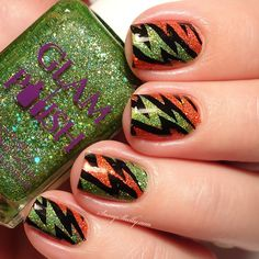 Halloween Nail Art with Glam Polish glitters