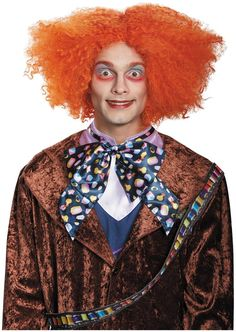 Disney Deluxe Alice in Wonderland Mad Hatter Top Hat Orange Wig Hair Oversized