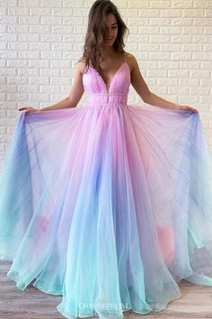 Buy Ombre Long Prom Dress V-neck Beaded Graduation Gown OP646 – ombreprom.co.uk #ombrepromdresses #promdresseslong #graduationgown