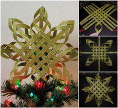 Creative Ideas – DIY Woven Paper Snowflake Ornaments | iCreativeIdeas.com