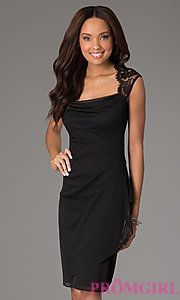Buy Knee Length Ruched Dress with Lace Detailing at PromGirl