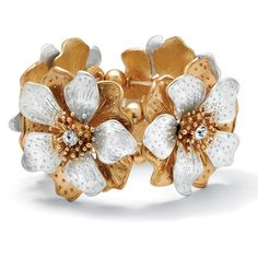 Palm Beach Jewelry PalmBeach Flower and Crystal Stretch Bracelet in... ($25) ❤ liked on Polyvore featuring jewelry, bracelets, gold jewelry, polish jewelry, palm beach jewelry, crystal bangle and gold jewellery
