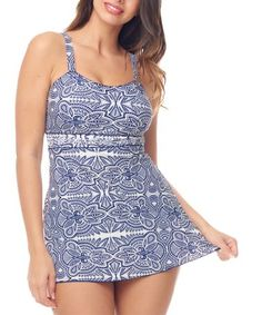 677e6305368aa Look at this #zulilyfind! Black & White Mosaic Empire-Waist Swim Dress