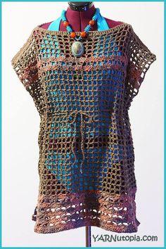 Crochet Tutorial: Beach Swimsuit Cover-Up - YARNutopia by Nadia Fuad Crochet Bikini Pattern, Swimsuit Pattern, Crochet Tunic, Crochet Clothes, Crochet Top, Free Crochet, Crochet Summer, Crochet Patterns, Crochet Bathing Suits