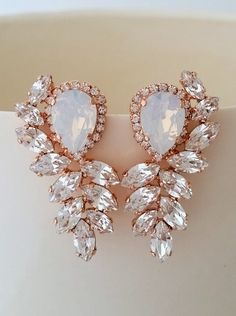 Rose gold earrings,Rose gold Bridal earrings,White opal crystal Statement stud…