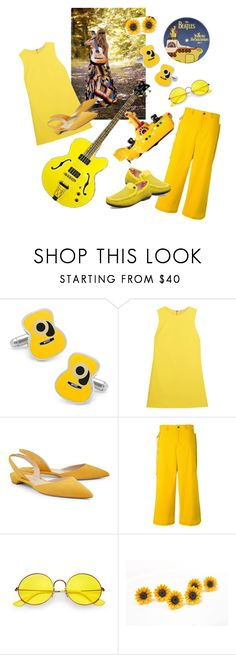 """Mellow Yellow Peace Man"" by alexxa-b ❤ liked on Polyvore featuring Submarine, Cufflinks, Inc., Alice + Olivia, Corgi, Paul Andrew, DAMIR DOMA, Ray-Ban, Stacy Adams, yellow and peace"