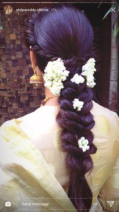 Best Hair Styles For Girls Buns 31 Ideas - Wedding Bridal Hairstyle Indian Wedding, Bridal Hairdo, Indian Wedding Hairstyles, Hairdo Wedding, Braided Hairstyles For Wedding, Hairstyles Haircuts, Pretty Hairstyles, Flower Hairstyles, Open Hairstyles