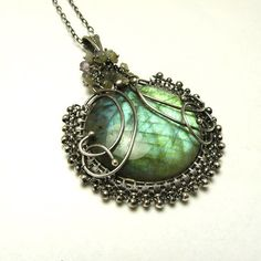 Silver wire wrapped pendant with labradorite by MadeBySunflower, $190.00