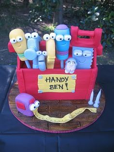 Handy Manny Toolbox Birthday Cake for Ben! Themed Birthday Cakes, Themed Cakes, Tool Box Cake, Cupcakes For Boys, Big Cakes, Character Cakes, Paper Cake, Specialty Cakes, Cake Boss