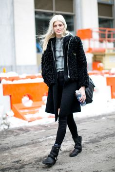 : With this polished Winter look (and that perfect hair!), she could be shooting a campaign.