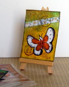ACEOs ORIGINAL. Mixed Media.Butterfly.  by GaleriaArlette on Etsy