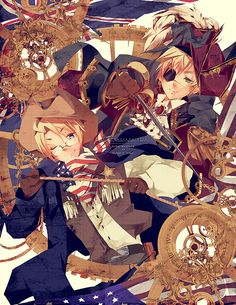 Hetalia (ヘタリア) - America & England<<<Ok how LONG did this take? Anime Guys, Manga Anime, Anime Art, Hetalia Characters, Fictional Characters, Cotton Eyed Joe, Hetalia America, Hetalia Japan, Hetalia England