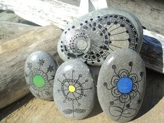 Fun, primary colored zentangle set of 4 hand drawn, Lake Erie beach stones.