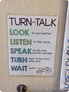 Turn and Talk guidelines- Download this poster for FREE!