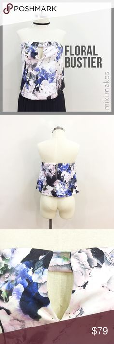 "🆕 KEEPSAKE • NWT floral bustier w/ front cut out • gorgeous blue and pink floral print • under layer is a short corset bra with boning  • outer layer is thick floral print which is a little boxy • front has small triangle cut out • back has an opening with visible zip • brand new with tags  100% Polyester Hand wash cold  Bust = 30"" Waist = 40"" Length = 13""  @mikimakes • Feel free to ask any questions • Sorry, no trades Keepsake Tops"