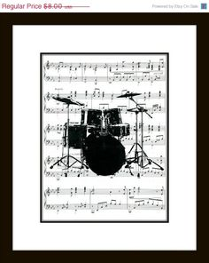 CYBER MONDAY SALE Drum Set Music Art Print - Drums Art Print on Music Wall Art