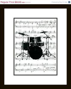 CYBER MONDAY SALE Drum Set Music Art Print - Drums Art Print on Music Wall Art