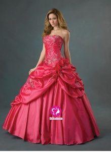 Mode de bal Sans bretelles Longueur ras du sol Robe de soirée en Taffetas avec Appliques Perle Fleurs manuelles Jupe ampleée(FR0241775 )