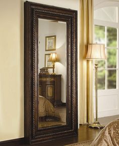 Mirror Full Length Floor Mirror With Beautiful Brown Color Frame Great Home Interior Full Length Floor Mirror Mirror Jewelry Storage, Wall Mounted Jewelry Armoire, Jewellery Storage, Full Length Floor Mirror, Decor Styles, Flooring, Interior Design, Floor Mirrors, Framed Mirrors